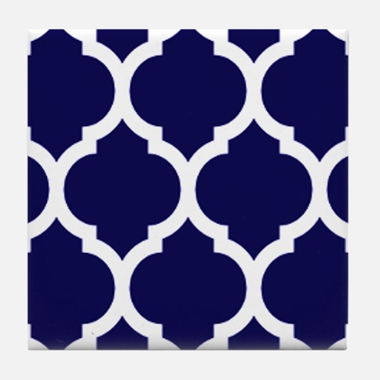 Navy Blue Moroccan Quatrefoil Tile Coaster