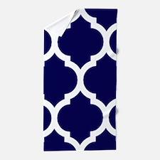 Navy Blue Moroccan Quatrefoil Beach Towel