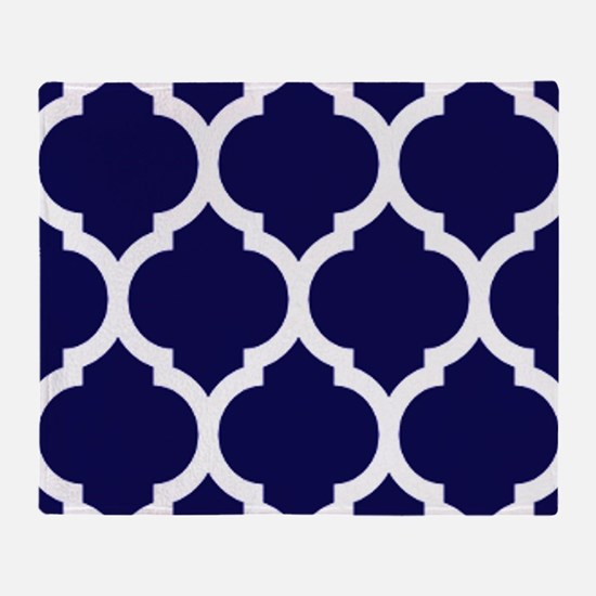 Navy Blue Moroccan Quatrefoil Throw Blanket