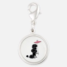 Pretty Polly Poodle - Silver Round Charm