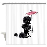 Black poodle Shower Curtains