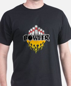 Bowler: Flaming Bowling Pins T-Shirt