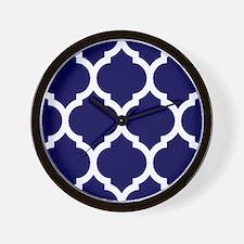 Navy Blue Moroccan Quatrefoil Wall Clock