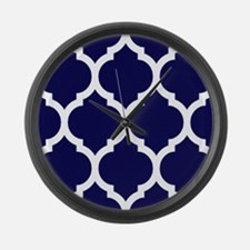 Navy Blue Moroccan Quatrefoil Large Wall Clock