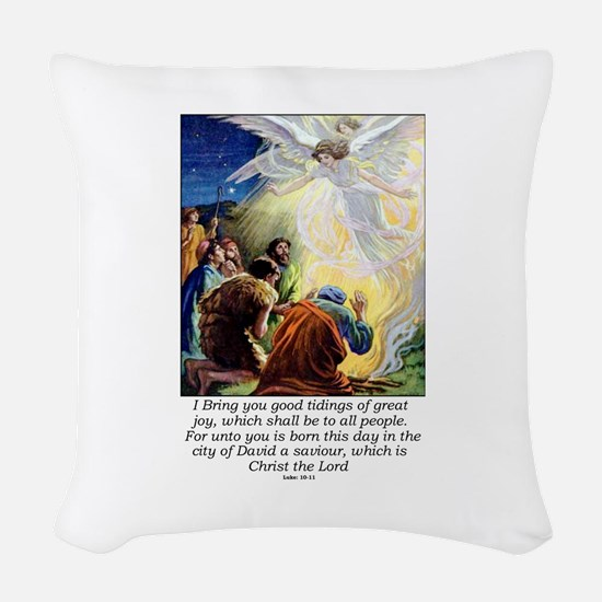 Angel Tidings of Great Joy Woven Throw Pillow