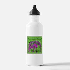 Cute Peace love elephants Water Bottle