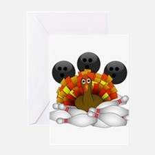 Bowling Strike! Bowling Turkey Greeting Cards
