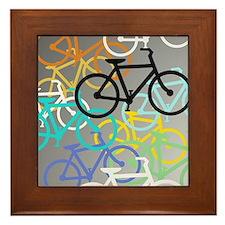 Colored Bikes Design Framed Tile