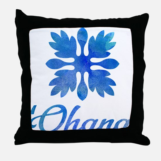 Ohana Hawaiian quilt watercolor Throw Pillow