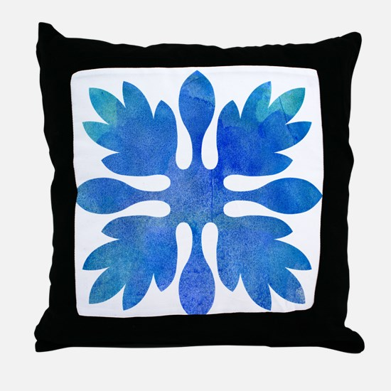 Ginger Hawaiian Quilt Blue Watercolor Throw Pillow