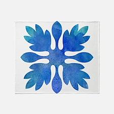 Ginger Hawaiian Quilt Blue Watercolor Throw Blanke