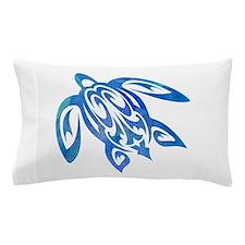 Honu Sea Turtle Blue Green Tribal Watercolor Pillo