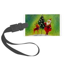 Santa and Reindeer Luggage Tag