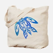 Honu Sea Turtle Blue Green Tribal Watercolor Tote