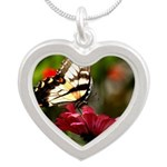 Butterfly on Red Flower Necklaces