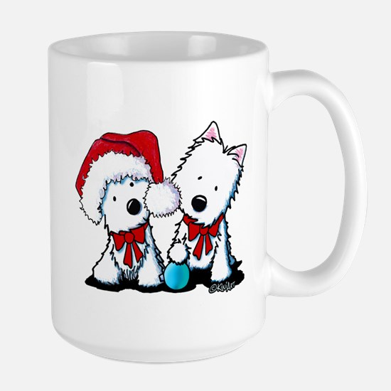KiniArt Christmas Westies Large Mug