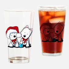 KiniArt Christmas Westies Drinking Glass