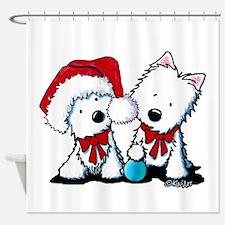 KiniArt Christmas Westies Shower Curtain