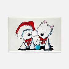 KiniArt Christmas Westies Rectangle Magnet