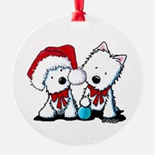 KiniArt Christmas Westies Ornament