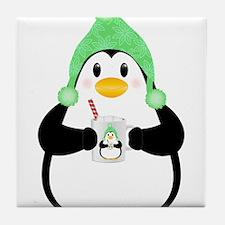 Penguin with Hot Cocoa Tile Coaster