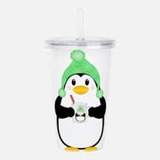 Penguin with Hot Cocoa Acrylic Double-wall Tumbler