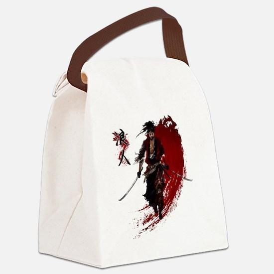 Funny Samurai Canvas Lunch Bag