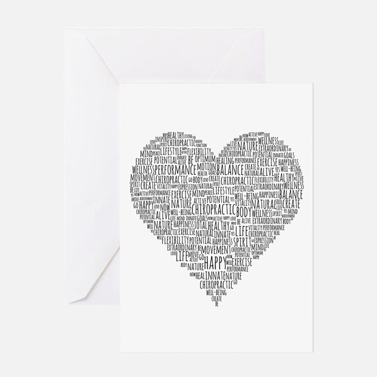 Chiropractic Heart-Shaped Word Greeting Cards