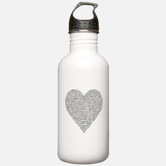 Chiropractic Heart-Shaped Word Collage Water Bottl