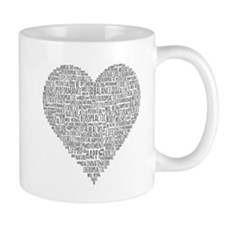 Chiropractic Heart-Shaped Word Collage Mugs