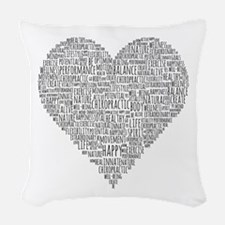 Chiropractic Heart-Shaped Word Woven Throw Pillow