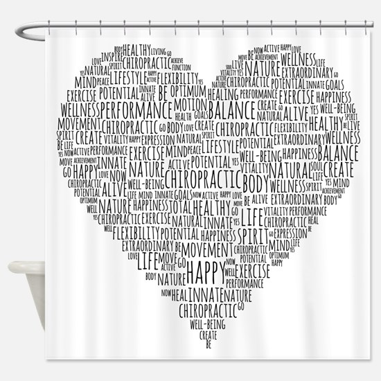 Chiropractic Heart-Shaped Word Collage Shower Curt