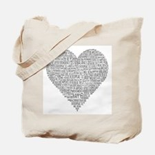 Chiropractic Heart-Shaped Word Collage Tote Bag