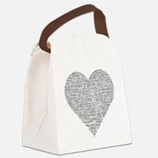 Chiro Heart-Shaped Word Collage Canvas Lunch Bag