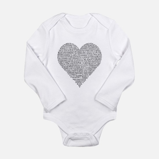 Chiropractic Heart-Shaped Word Collage Body Suit