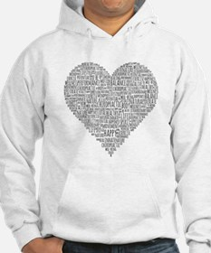 Chiropractic Heart-Shaped Word Collage Hoodie