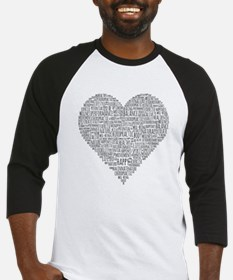 Chiropractic Heart-Shaped Word Collage Baseball Je