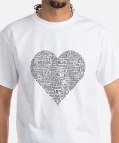 Chiropractic Heart-Shaped Word Collage T-Shirt