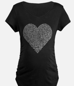 Chiropractic Heart-Shaped Word Collage Maternity T