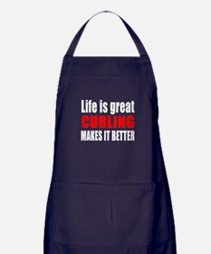 Life is great Curling makes it better Apron (dark)