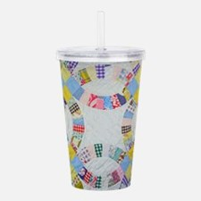 Colorful patchwork qui Acrylic Double-wall Tumbler