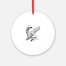 Flying Snowy Owl Round Ornament