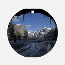 Yosemite's famous Tunnel View from Round Ornament