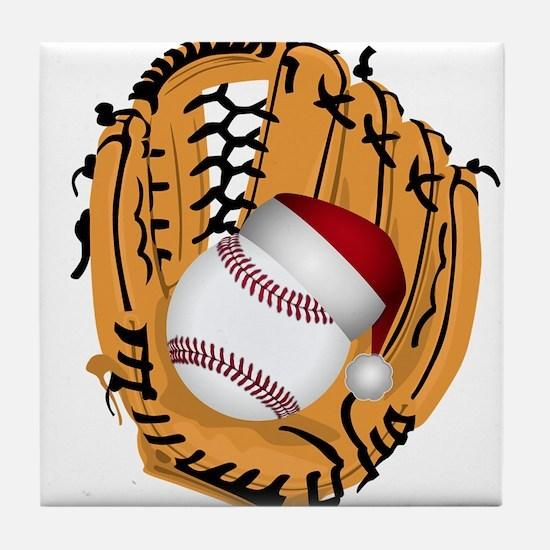Christmas Baseball Tile Coaster