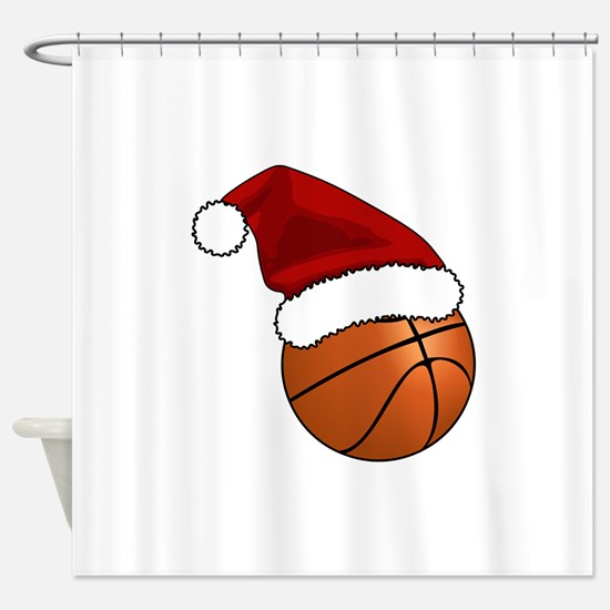 Christmas Basketball Shower Curtain