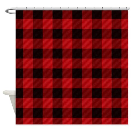 red plaid shower curtain by admin cp11861778