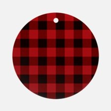 Red Plaid Round Ornament
