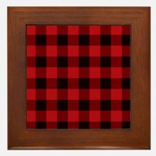 Red Plaid Framed Tile