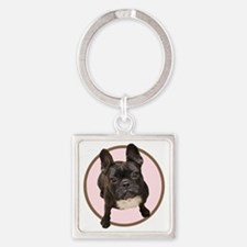 Cute French bull dogs Square Keychain