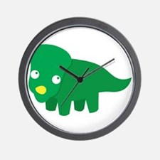 Cute green dinosaur Wall Clock